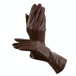 £95 Aspinal Of London Gloves, Luxury Cashmere Lined Brown Leather Gloves 7,5 NEW