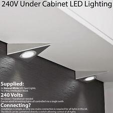 2x LED Triangle Spotlights - 240V NATURAL WHITE Under Cabinet Kitchen Light Kit