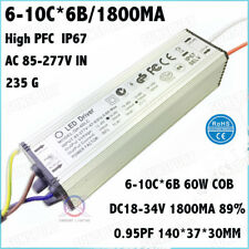2Pieces AC85-277V 60W COB IP67 LED Driver 6-10x6 1.8A DC18-34V Constant Current