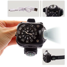 Rechargeable XM-L T6 LED Wrist Watch Flashlight Torch Lamp Light Compass+Charger