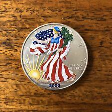 2000 American Eagle .999 Fine Silver In Full Color American Flag Coin Bullion