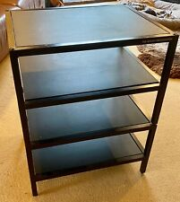 """SOUND ORGANISATION"" 4 TIER BLACK STAND  WITH WOODEN SHELVES AND SPIKED FEET"