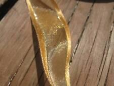 Larghezza 23 mm ORO Satin Edged in Organza e nastro con oro lurex - 2 metri lunghezza
