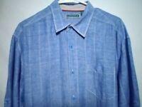Cubavera Men's Sz Large Blue Plaid Shirt Button Up Front Long Sleeve Linen Blend