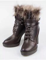 New Brunello Cucinelli Brown Leather Fur Double Strap Boots Sz 41/10.5 $1995.00