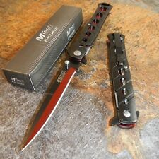MTech Spring Assisted Open BLACK & RED Stiletto Tactical Folding Pocket Knife