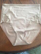 Soma Vanishing Tummy Cotton Blend w/Lace Retro Brief NWT Soft Tan L $26