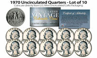 1970 US MINT QUARTERS Uncirculated Coins from U.S. Mint Cello Packs (QTY 10)