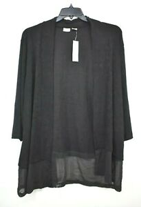 Chicos Womens Black Shawl Collar Open Front Long Sleeve Soft Suede Cardigan 2
