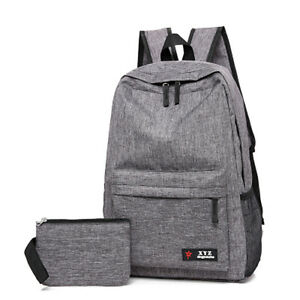 Men Canvas Bag 2 Piece 15inch Laptop Backpack Women Mochila School Casual Bags