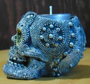 Silver studded crystal eye skull ~ Tea light candle holder Gothic ornament gift