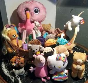 Large Lot of 27 Plush Dolls Toys TY Hello Kitty Beanie Babies Rare Collectors ED