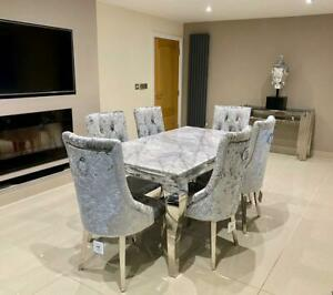Louis Grey Marble Dining Table Chrome Legs Crushed Silver Velvet Knocker Chair
