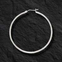 10k White Gold 2mm x 40mm Round Shiny Lite Tube Hoop Earrings