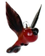 Bullfinch Blown Glass Sculpture, Glass Art, Home Decor Red Bird Figurine