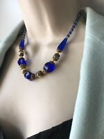 Antique Gablonz ART DECO Czech Cobalt Blue Glass NECKLACE