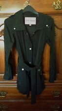 Betsey Johnson Solid Black Belted Trench Raincoat Size XS EUC