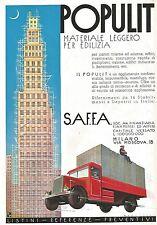 W9648 POPULIT materiale per edilizia - S.A.F.F.A. - Pubblicità del 1936 - Old ad