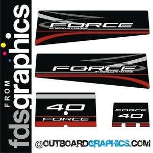 Mercury Force 40hp outboard decals/sticker kit - black design