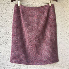 Womens Norton McNaughton Size 12 Pink Tweed Straight Skirt Lined Slit Back