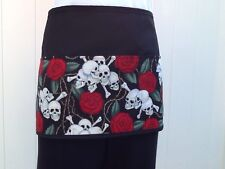 Black Color Skulls Server waitress waist apron 3 pocket restaurant Classyaprons