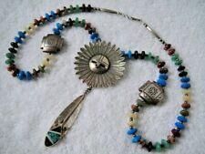 Bennie Ration / C. Webster Navajo Kachina Sunface Pendant Multi-Stone Necklace