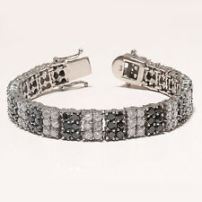 Egyptian Black Spinal & White Topaz Wrist Bracelet 925 Sterling Silver Jewelry