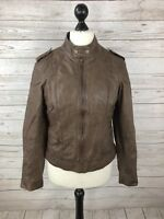 NEXT Leather Biker Jacket - UK14 - Brown - Great Condition - Women's