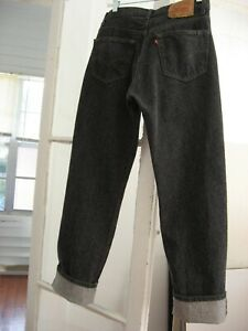VTG 80s 90s LEVIS 501-0658 BUTTON FLY HIGH RISE  32 X 32  BLACK HAIRY WASH USA !