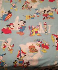 WALT DISNEY PRODUCTIONS VINTAGE MICKEY & MINNIE MOUSE FULL FLAT SHEET FABRIC 70s