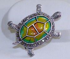 GENUINE! 0.014cts Ruby, Marcasite, Enamel Turtle Brooch/Pendant Silver 925.