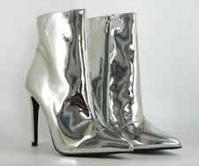 Public Desire Harlee Womens UK 5 EU 38 Silver Mirrored High Heel Ankle Boots
