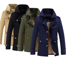 Mens Winter Trench Coat Warm Thicken Fleece Jacket Peacoat Long Fashion Overcoat