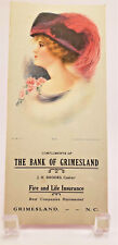 Antique The Bank of Grimesland North Carolina Ink Blotter Paper Ruth ~ 1913 ~