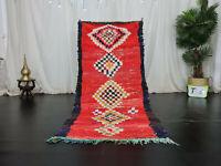 "Moroccan Vintage Handmade Rug 3'1""x6'7"" Geometric Red Wool Cotton Berber Carpet"