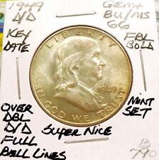 1949-D/D FRANKLIN HALF DOLLAR GEM+ BU/MS, BOLD FULL BELL LINES, NICE+ SHARP B790