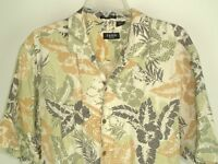 Izod Golf Men's Short Sleeve Hawaiian Washable Silk/Linen Floral Shirt Size L