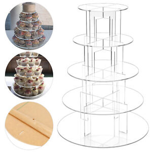 Clear Acrylic Round Cupcake Stand Display Wedding&Party 5 Tier Cup Cake Holder