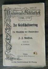 Rousseau Der Gesellschaftsvertrag reclams Universal-Bibliothek 1769/1770 um 1900