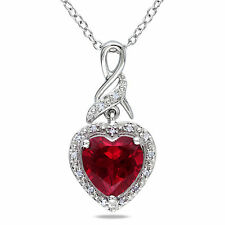 Sterling Silver Gemstone and Diamond Heart Pendant Necklace