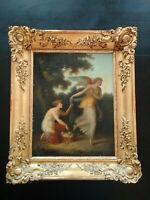 Superbe tableau XIXème néo-classique Zephyr et Chloris école néo-grecs cadre