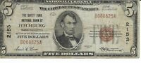$5 1929 Safety Fund National Bank of Fitchburg Massachusetts Currency Note
