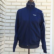 Adidas Track Jacket Retro Navy Blue White Three Stripes Full Zip Size Medium