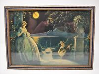 "Antique Print of a Moonlight Serenade by Roy Richards 6"" x 9"", Original Frame"
