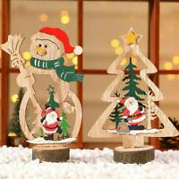 Christmas Wooden Santa Claus Snowman Xmas Tree Festival Ornament Table Decor