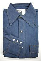 Vintage Key Imperial Mens Long Sleeve Dark Washed Denim Pearl Snap Western Shirt