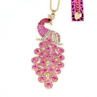Betsey Johnson Pink Crystal Big Peacock Pendant Sweater Chain Women's Necklace