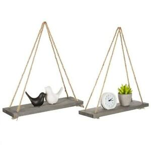 Set of 2, Home Decorative 17-Inch Rustic Gray Wood Rope-Hanging Floating Shelves