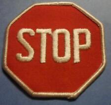 "Vintage 70s Sew-On PATCH - STOP sign 3"" - Biker Hippie Punk Jacket Vest"