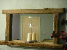 Large Rustic Chunky Farmhouse Reclaimed wood Driftwood Mirror with Candle shelf